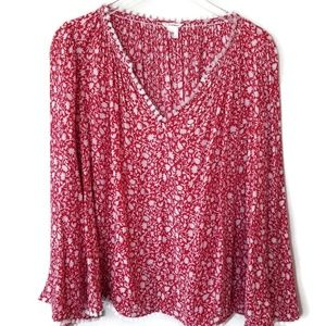 Club Monaco red white floral print boho top fringe